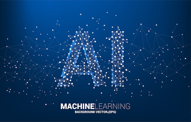 Veelhoek dot-verbinding lijnvormige ai. machine learning en kunstmatige intelligentie.