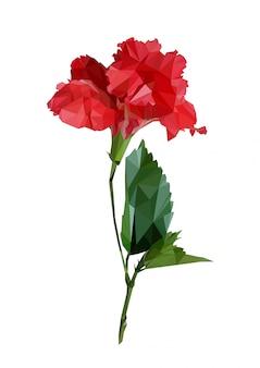 Veelhoek rode hibiscus of chinese roos met bladeren. poly lage geometrische driehoek bloem vector. geïsoleerd
