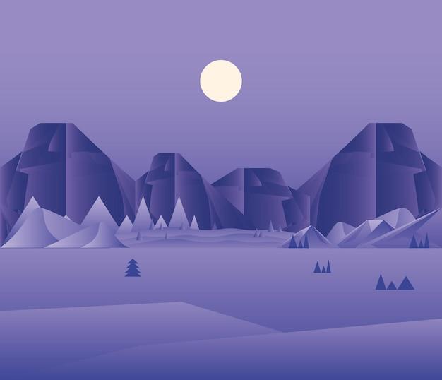 Veelhoekig landschap van bergen bij nachtontwerp, aard en openluchtthemaillustratie