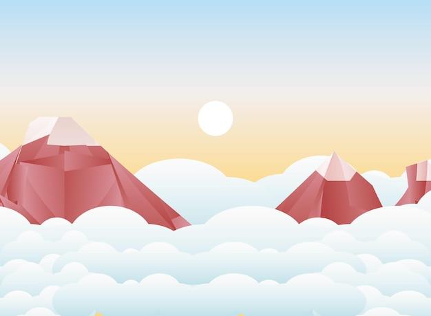 Veelhoekig landschap van bergen met sneeuw en wolkenontwerp, aard en openluchtthemaillustratie