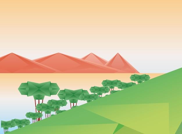 Veelhoekig landschap van bomen en woestijnontwerp, aard en openluchtthemaillustratie