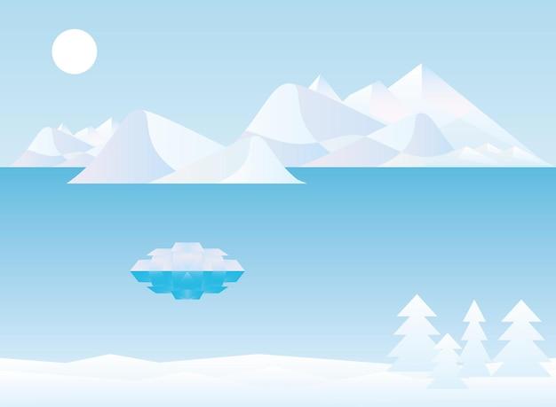 Veelhoekig landschap van de winterbergen en het ontwerp van pijnbomen, aard en openluchtthemaillustratie