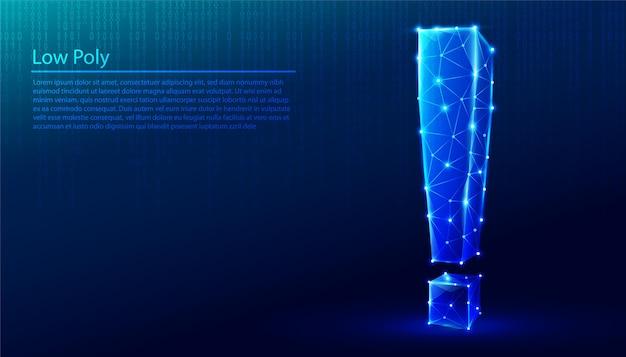 Veelhoekig teken van uitroepteken op donkerblauwe technische achtergrond, driehoeken en deeltjesstijlontwerp.