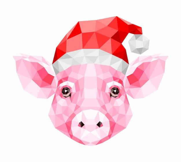 Veelhoekig van roze varken in een nieuwjaarshoed. symbool van 2019. vectorillustratie