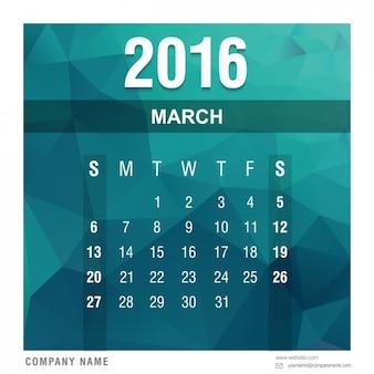 Veelhoekige 2016 kalender maart