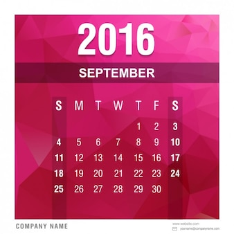 Veelhoekige 2016 kalender september