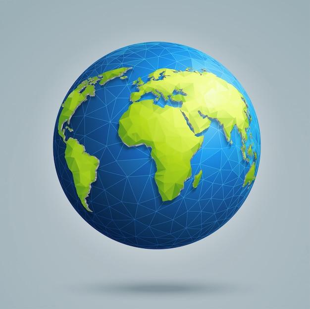 Veelhoekige 3d-wereldbol met wereldwijde verbindingen