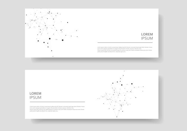 Veelhoekige abstracte banner instellen met aaneengesloten lijn en punten
