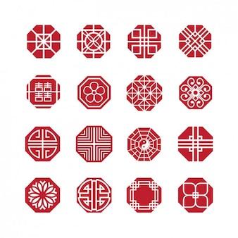 Veelhoekige abstracte pictogrammen collectie