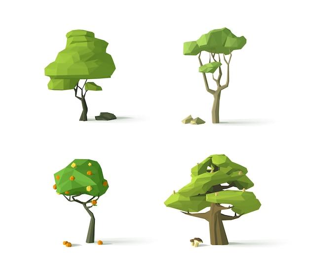 Veelhoekige bomen moderne illustratie geïsoleerd