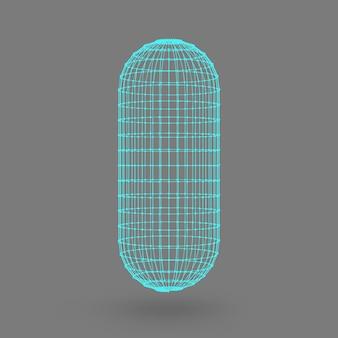 Veelhoekige capsule. de capsule van de lijnen verbonden stippen. atoom rooster. rijden constructieve oplossing tank. witte achtergrond met kleurovergang.