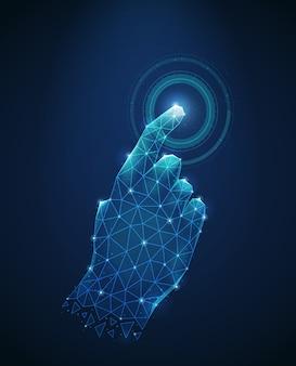 Veelhoekige draadframe afbeelding van menselijke hand aanraking naar elektronische display abstract vector illustratie