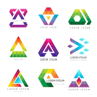 Veelhoekige driehoek logo. zakelijke gekleurde identiteit abstracte symbolen polygonen sier vectorafbeelding. illustratie moderne zakelijke geometrische veelhoek, logo corporate