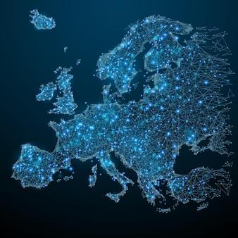 Veelhoekige europa kaart wereld concept vector kaart mesh bollen van rondvliegend puin dunne lijn concept