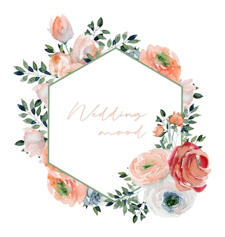 Veelhoekige frame van aquarel roze rozen wilde bloemen en groene takken