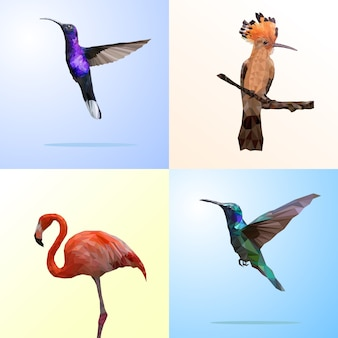Veelhoekige geometrische van vogel en flamingo