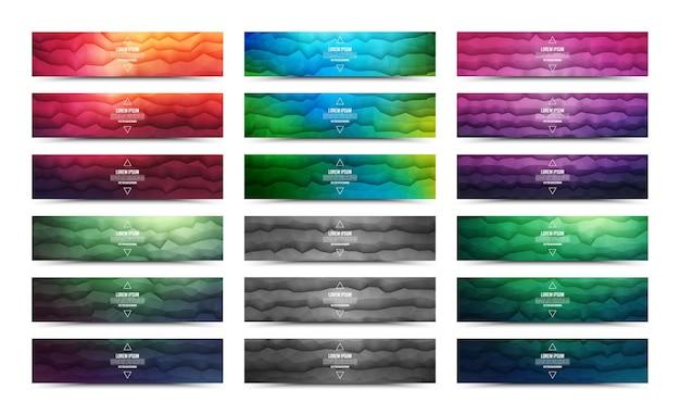Veelhoekige golfvorm levendige gekleurde abstracte webbanners collectie op wit