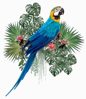 Veelhoekige illustratie blauwe en gouden aravogel met amazonebladeren.