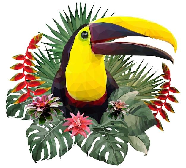 Veelhoekige illustratie toekanvogel en amazone-bosplanten.