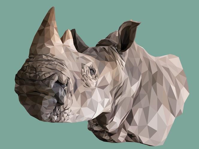 veelhoekige illustratie van het hoofd van neushoorns