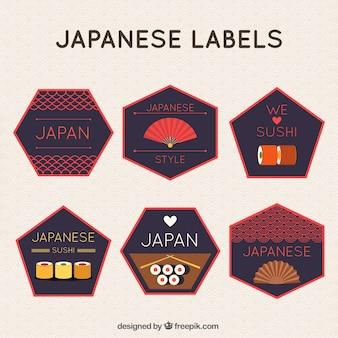 Veelhoekige japanse labels