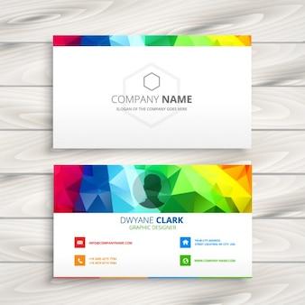 Veelhoekige kleurrijke visitekaartje