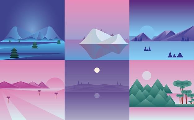 Veelhoekige landschappen icoon collectie ontwerp, natuur en outdoor thema illustratie