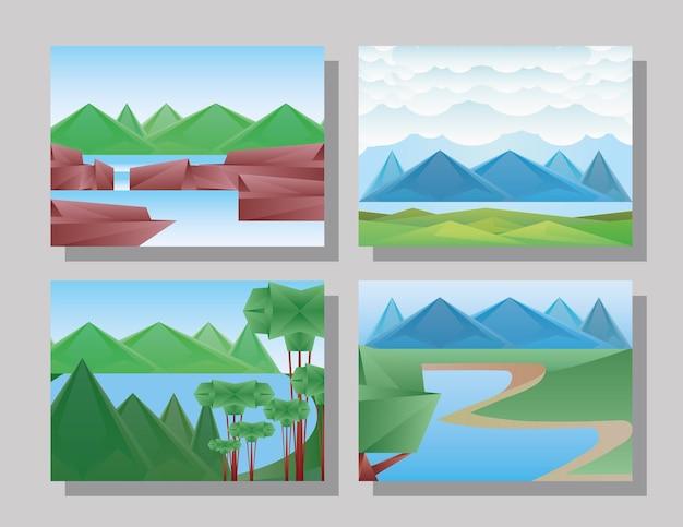 Veelhoekige landschappen symbool decorontwerp, natuur en buiten thema illustratie