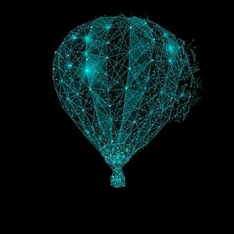 Veelhoekige luchtballon. mesh-bollen van rondvliegend puin. blauwe structuur stijl illustratie