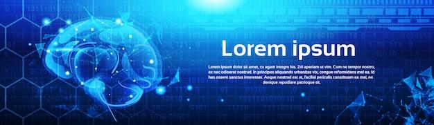 Veelhoekige menselijke hersenen op abstracte laag poly blauwe achtergrond