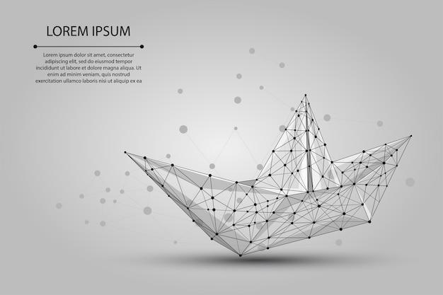 Veelhoekige mesh origami boot van stippen en lijnen
