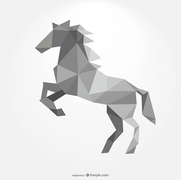Veelhoekige paard vormen van driehoeken