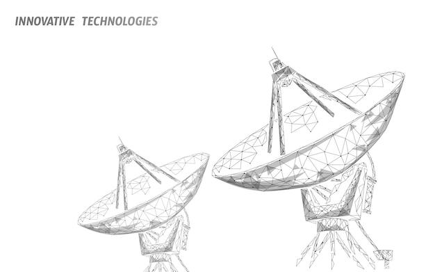Veelhoekige radar antenne ruimte verdediging abstracte technologie concept.