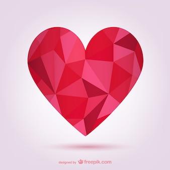 Veelhoekige rood hart