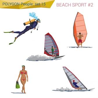 Veelhoekige stijl strandmensen wandelen set illustraties.