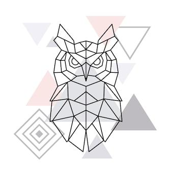 Veelhoekige uil op minimalistische driehoeksachtergrond