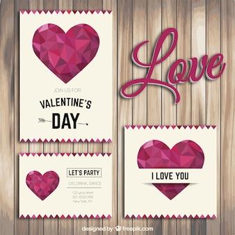 Veelhoekige valentijnsdag flyers