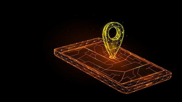Veelhoekige vectorillustratie van mobiele gps-navigatie op een zwarte achtergrond. smartphone en aanwijzer op het kaart futuristische concept.