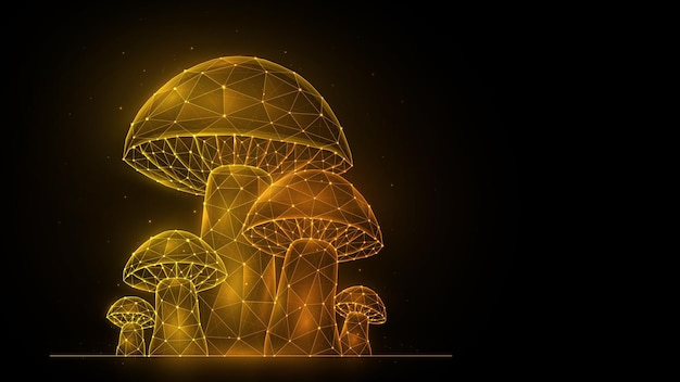 Veelhoekige vectorillustratie van paddenstoelen op een zwarte achtergrond