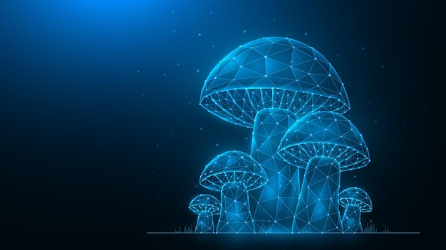 Veelhoekige vectorillustratie van paddestoelen op een donkerblauwe achtergrond