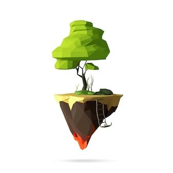 Veelhoekige vliegende eiland trappen stenen groen gras cartoon afbeelding geïsoleerd