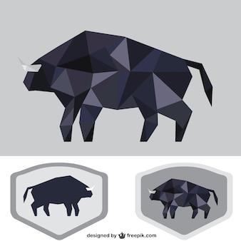 Veelhoekige zwarte stier