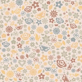 Veelkleurig naadloos patroon van bloemen, bladeren, sterren, vlinders en harten