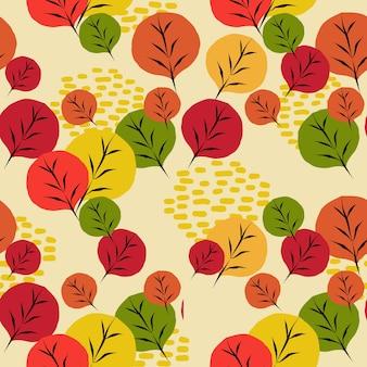 Veelkleurig van de herfst naadloos patroon van bladeren
