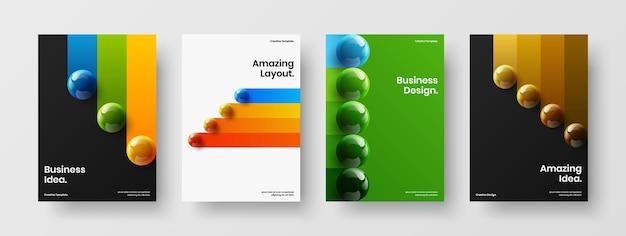 Veelkleurige 3d-bollen bedrijfsbrochure conceptbundel