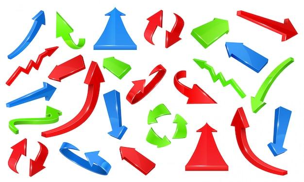 Veelkleurige 3d glanzende pijlen. wijzende tekens vector set