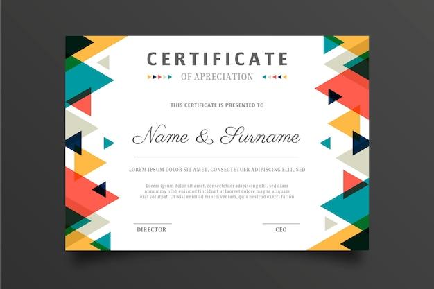 Veelkleurige abstracte certificaatsjabloon
