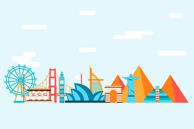 Veelkleurige bezienswaardigheden skyline