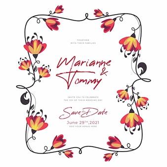 Veelkleurige bruiloft bloemen frame