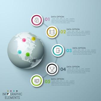 Veelkleurige cirkelvormige elementen, pictogrammen aan de binnenkant en genummerde tekstvakken geplaatst op een halve cirkel rond de wereldbol met kaartspelden van overeenkomstige kleur